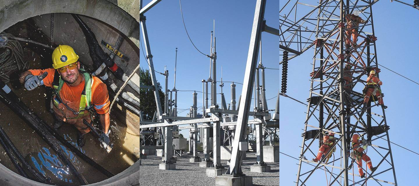 3 photo collage of workers and a substation