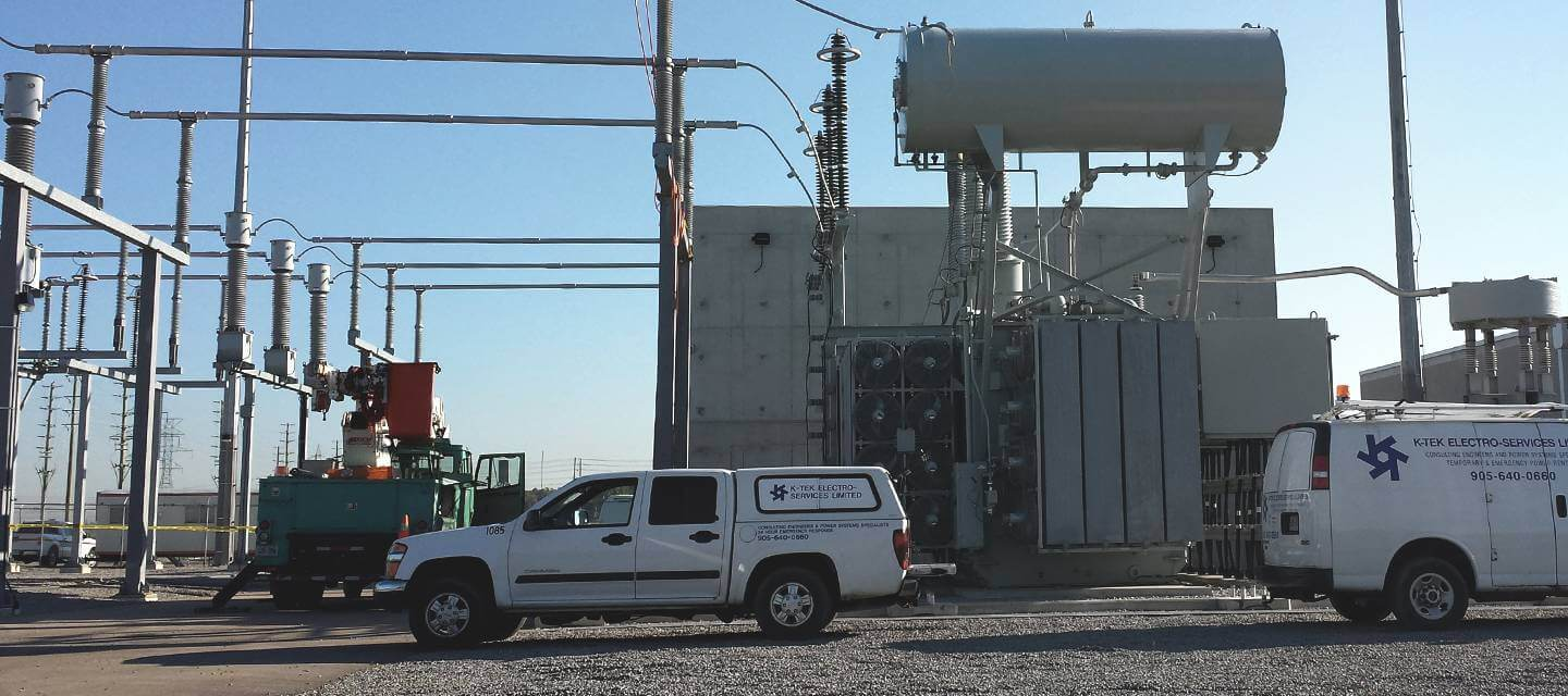 K-Tek vehicles at a substation