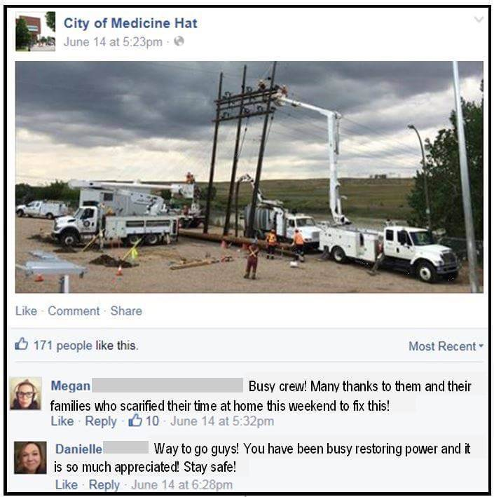 City of Medicine Hat Facebook post showing K-Line working with other utility workers