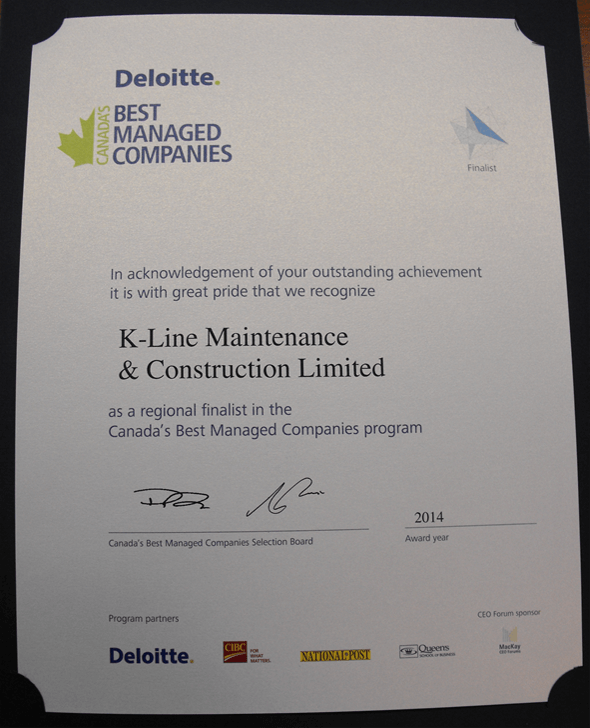 Paper depicting K-Line getting recognized as a finalist for Canada's Best Managed Companies Award