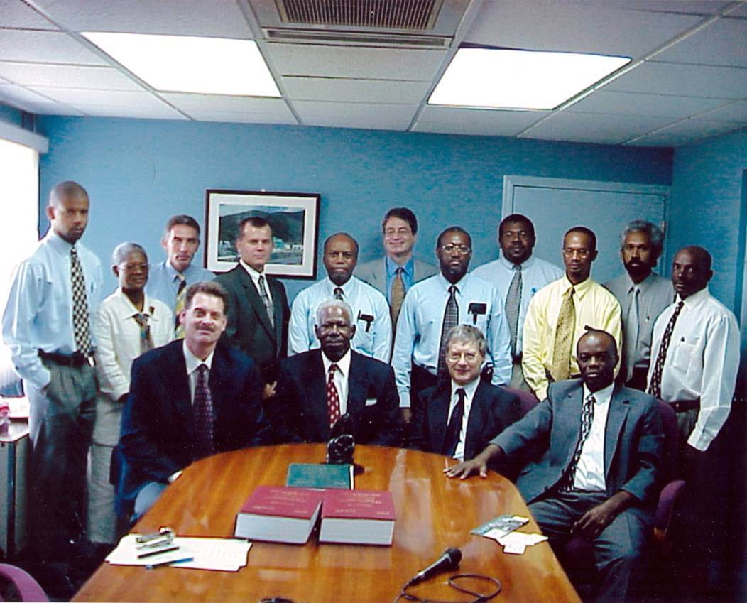 Mark Kellett signing the first contract in the British Virgin Island on December 21, 1999.