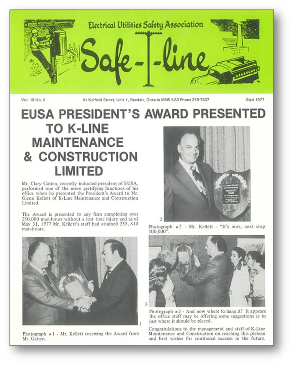 Safe-T-Line article featuring K-Line as the 1977 EUSA President's (Safety) Award Winner