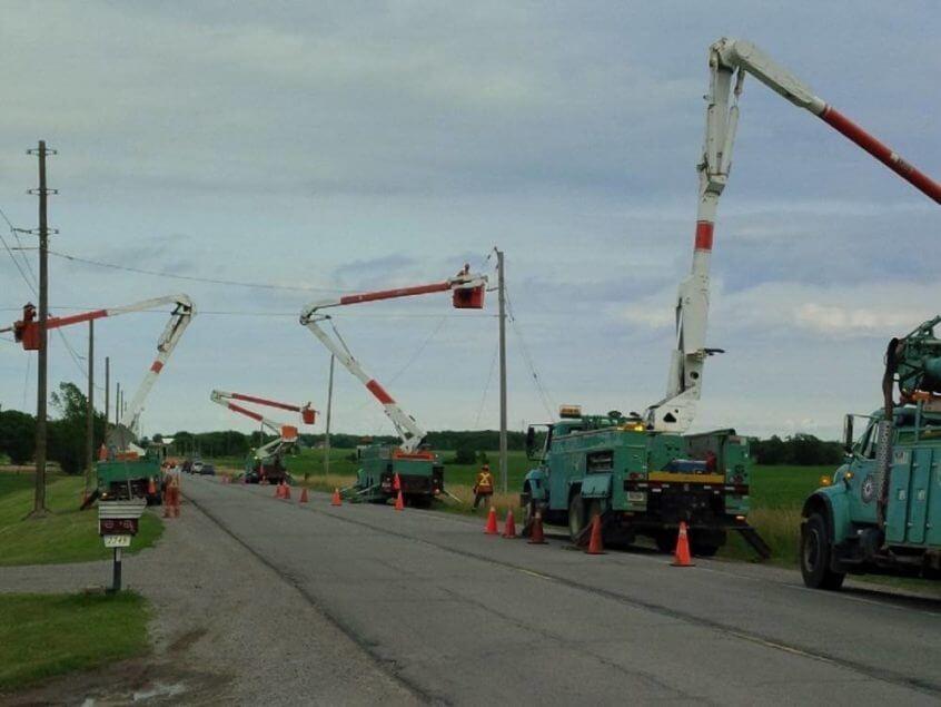 5 K-Line trucks working roadside