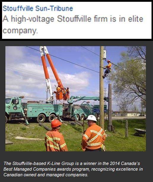 Stouffville Tribune clipping honouring K-Line