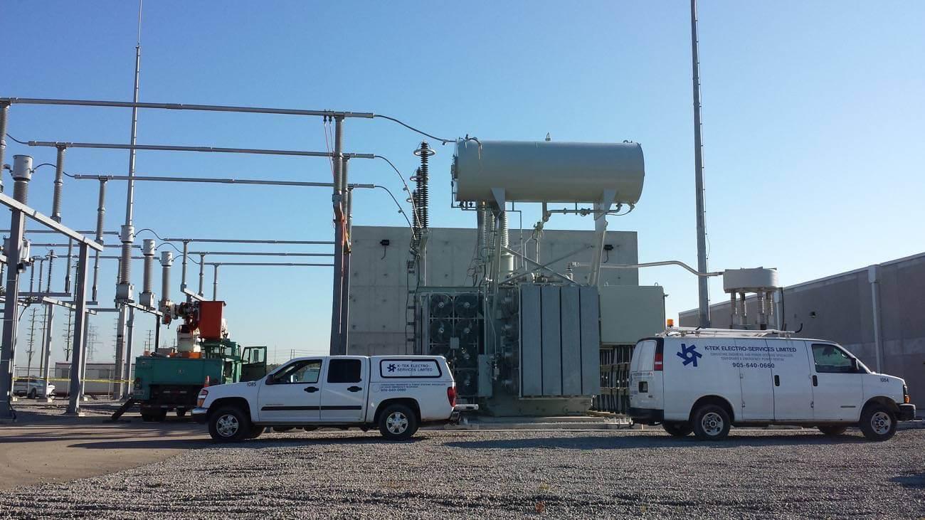K-Tek vehicles at a substation