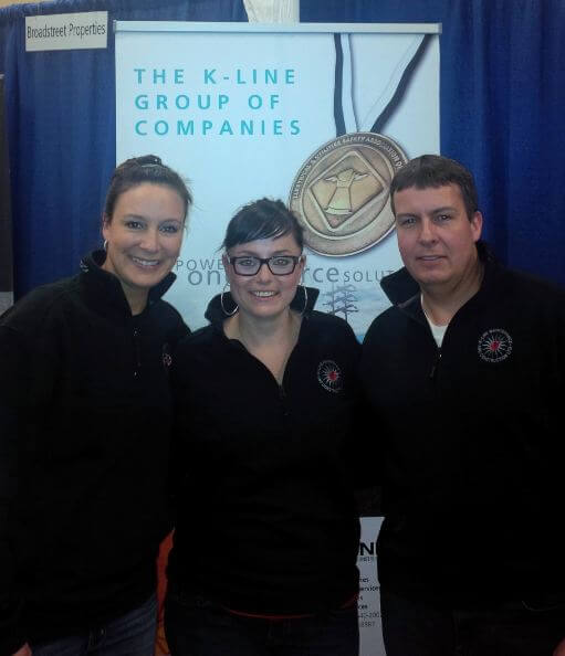Posing for a photo at the K-Line booth